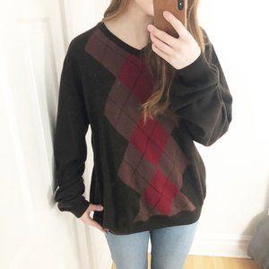 Burberry Argyle Preppy 100% Merino Wool Sweater